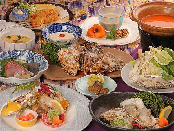 地元(=瀬戸内海・虫明)産の牡蠣のお料理をご堪能いただける「牡蠣づくし」のご夕食 ※イメージ