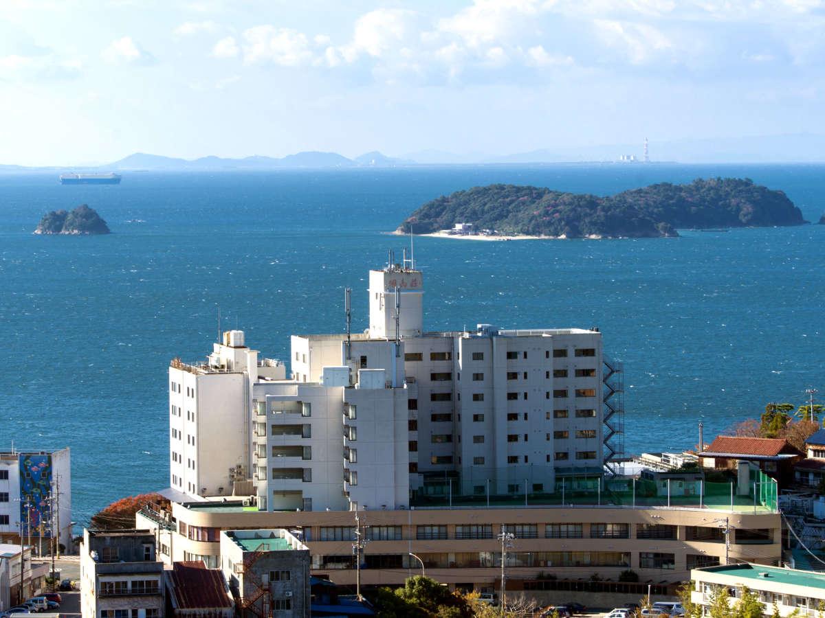 三河湾をの望む好立地「ホテル明山荘」外観