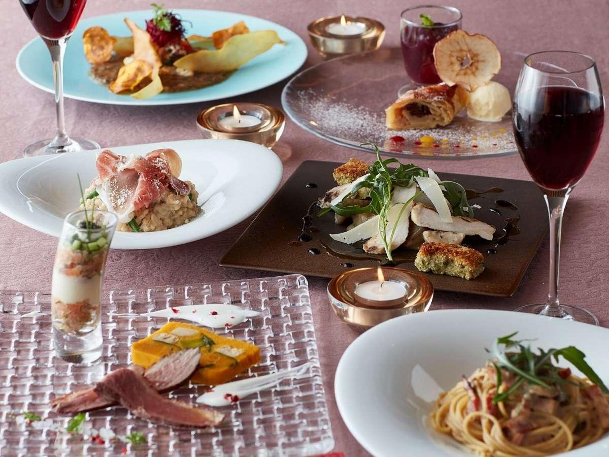 【1階ボンサルーテKABUKI】コース一例。月替わりで旬の食材をお楽しみいただけます