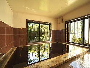 源泉100%の天然温泉が楽しめる大浴場一例