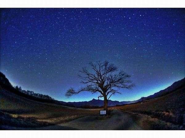 煌く星。徒歩1分「ヤマナシの木」周辺からは、輝く星空を。TVドラマにも良く登場する人気の場所です。