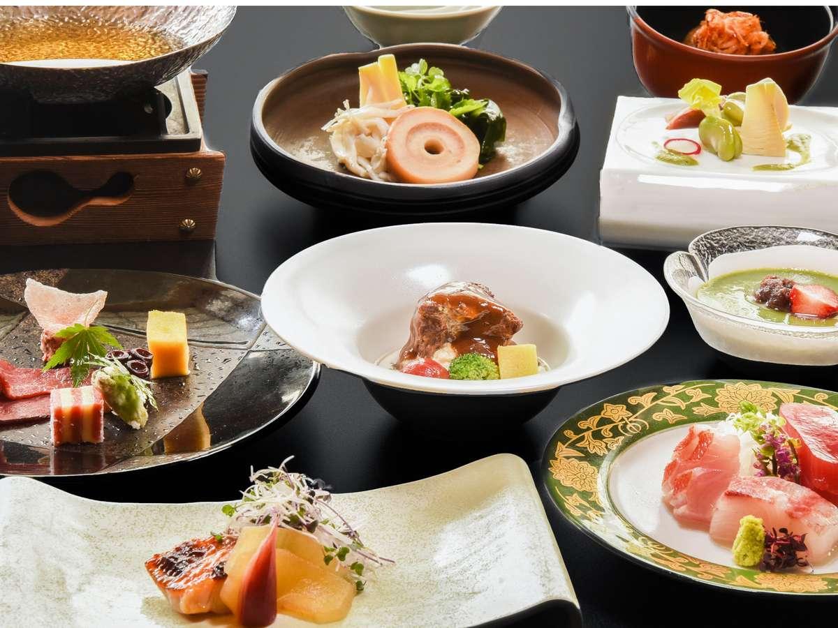 <夕食一例>季節の旬の食材をふんだんに使用した楽山やすだ自慢の夕食です。