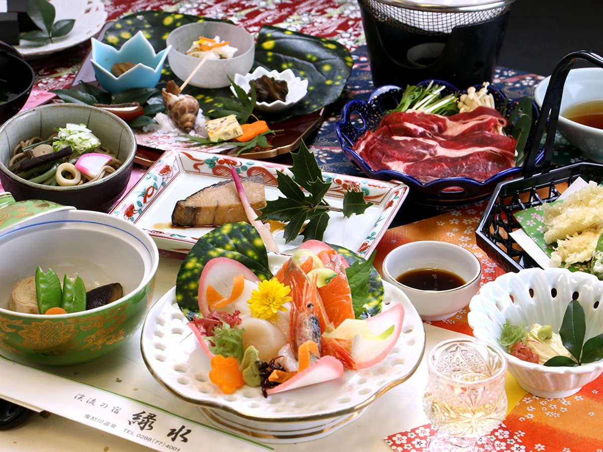 【夕食一例】栃木県自慢の食材を中心に、旬にこだわったお食事です。