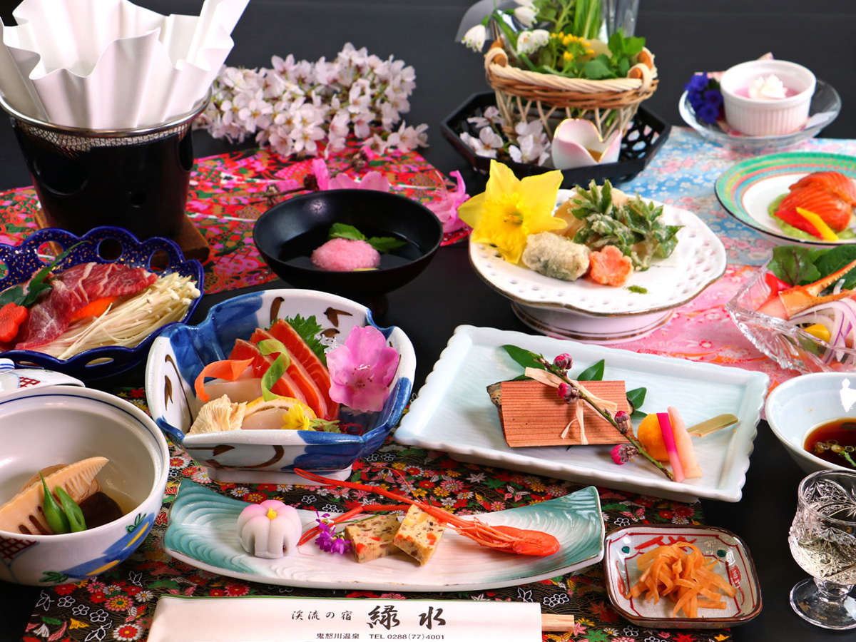 【夕食一例】地元食材を中心に、一つ一つ心をこめて。鬼怒川の四季を愉しむ旬の味覚をお届けします