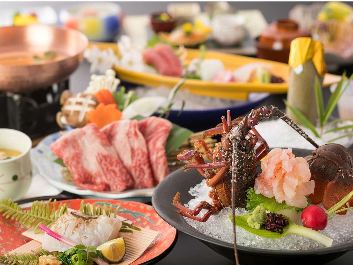 伊勢海老お好み料理の会席例。お造り、焼、煮などお好みの調理方法にてご用意いたします。