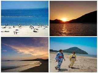 当館から徒歩1分の菊ヶ浜/日中は『オーシャンビーチ』夕刻は『サンセットビーチ』絶景スポットとして人気