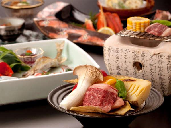 季節の会席料理をお楽しみください(写真はイメージ。季節により一部材料がかわります)