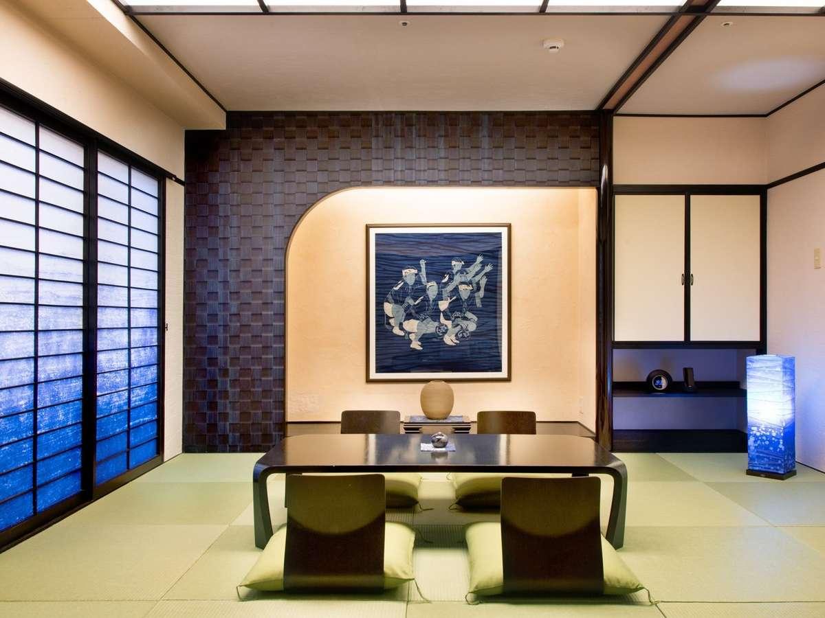 阿波徳島は藍の産地。本物の「阿波藍」を随所にあしらった格調高い和室は、アメニティにもこだわっています