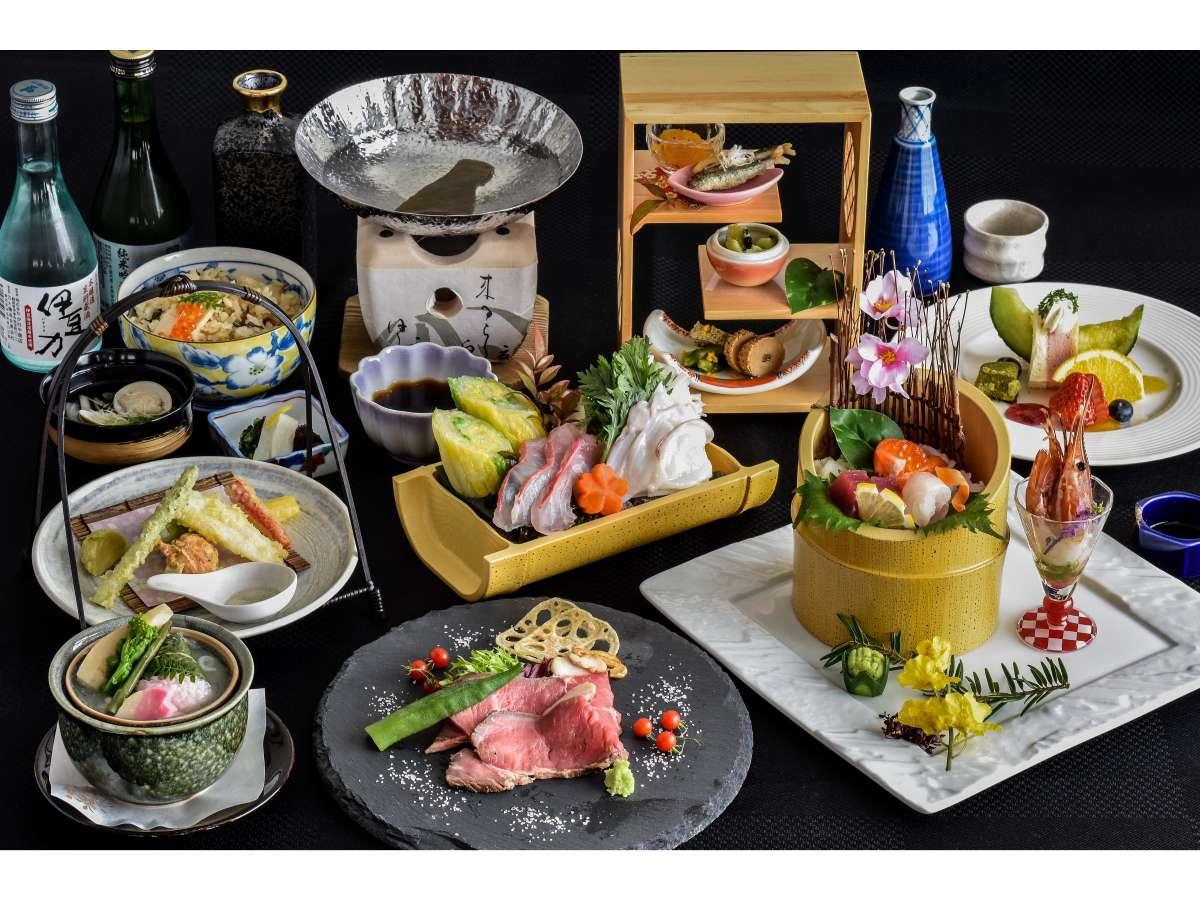 コース一例(春)金目鯛など旬の海鮮のしゃぶしゃぶなどオリジナルの京風懐石