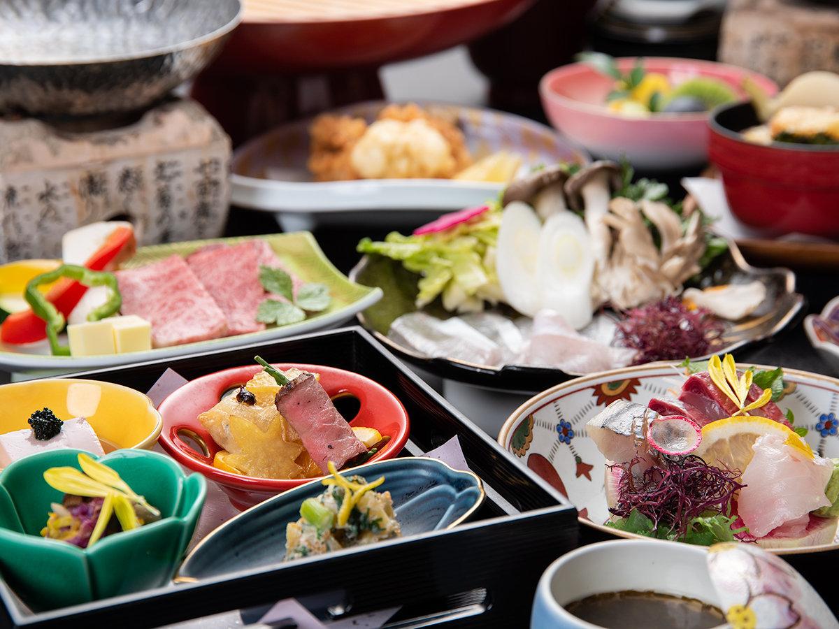 *ご夕食一例:玄界灘で獲れた新鮮な魚介を使った、自慢の品々をご堪能下さい。