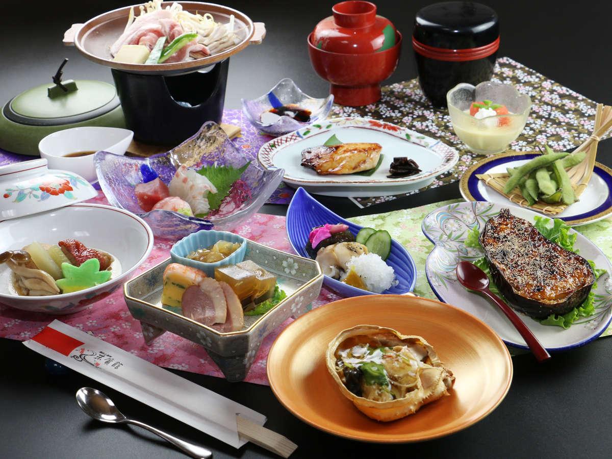 ◆【夏季・スタンダード一例】日本海の幸を中心にした料理8品+お食事コース。