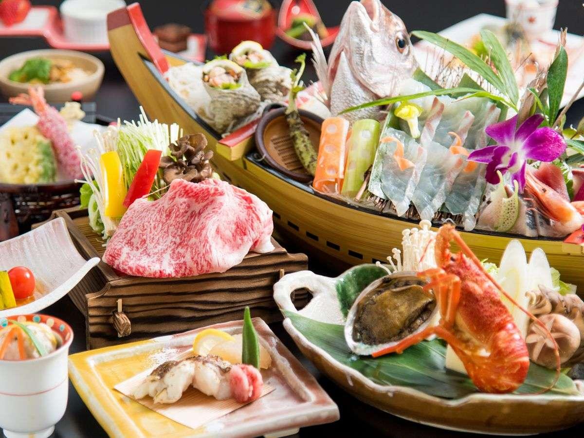 【贅沢味覚会席】鳥取和牛、旬魚の舟盛り、鮑とイセエビ!旬の味覚を贅沢に味わう※舟盛りは2名盛り