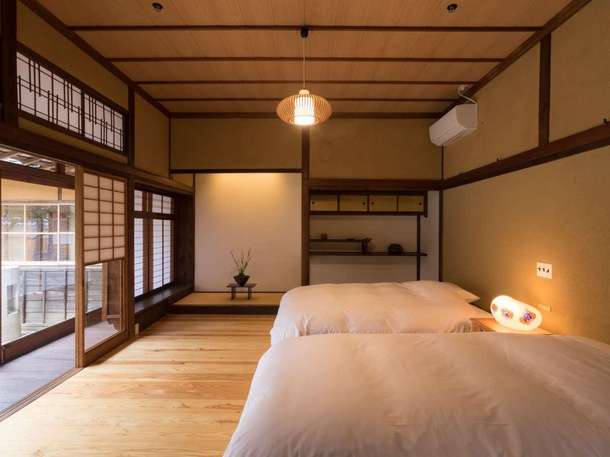 【客室】杜氏(とうじ):寝室には心地のよい光が差し込みます