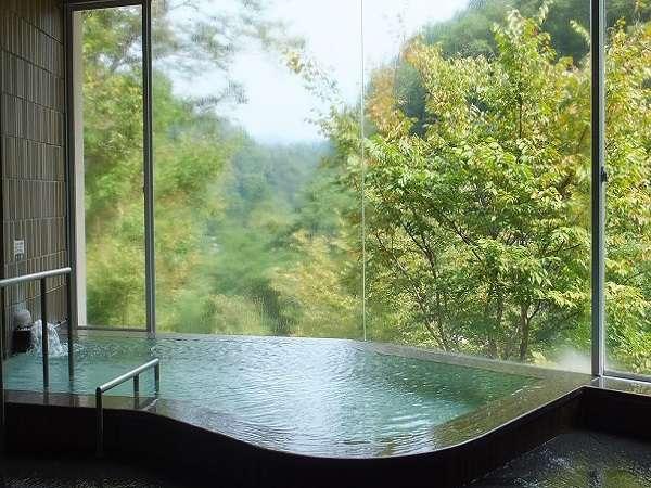 大きな窓から風景を楽しめるお風呂