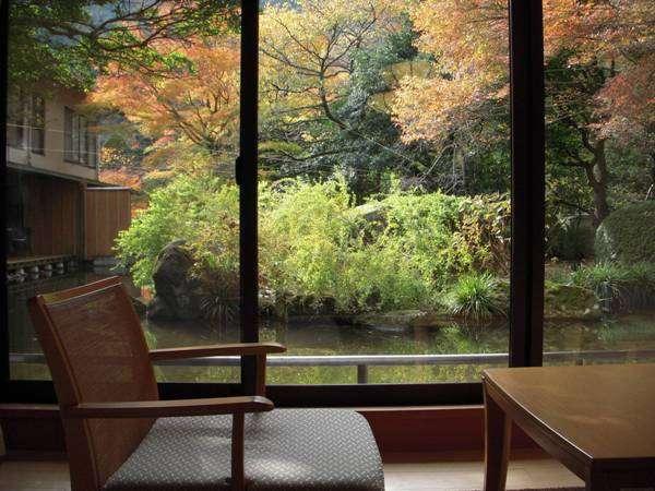 ■色づく庭園の木々(秋)