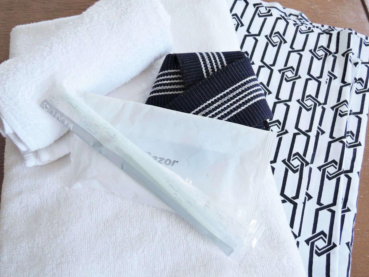 *【アメニティ一例】浴衣、タオル、歯ブラシ、かみそり