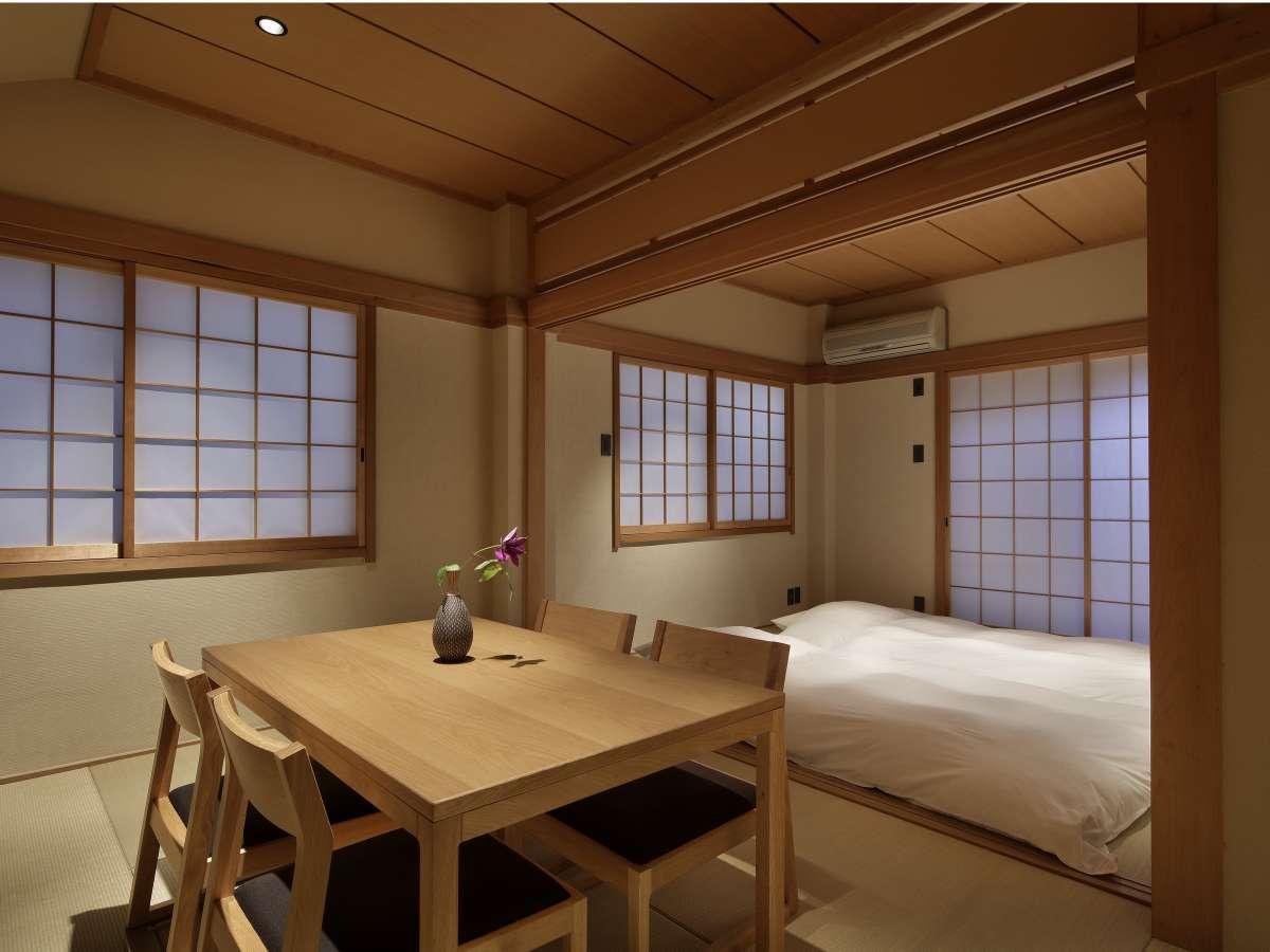 1階和室には最大4組のお布団をご用意いたします。