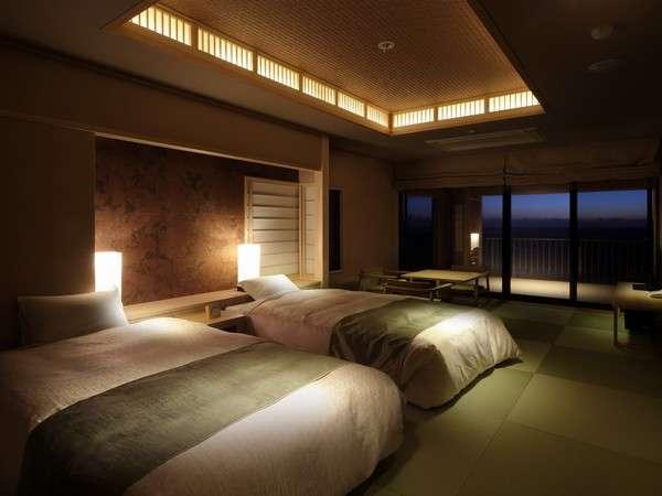 最上級のお部屋プレミアム和モダン。2階と3階に1部屋づつの露天風呂付き。
