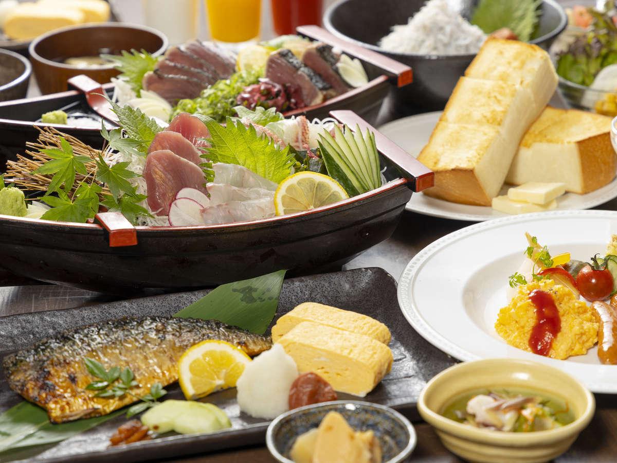 朝食1階06:30~10:00/1人1,200円/幾種類のメニューから選べる定食スタイル