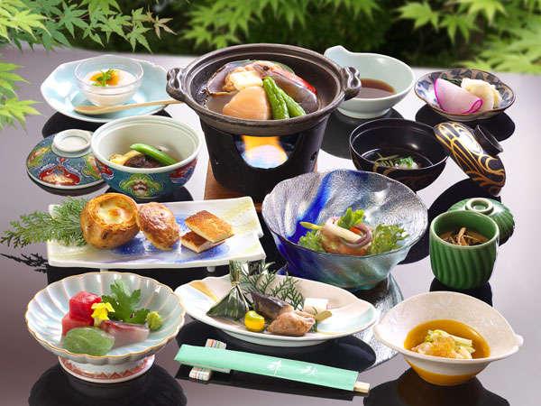 夕食の海鮮焼きを中心としたお料理一例(季節で食材が変わります)