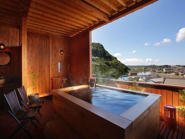 健康と美がテーマの『柿渋』4つの露天風呂を貸切手形で湯めぐり気分