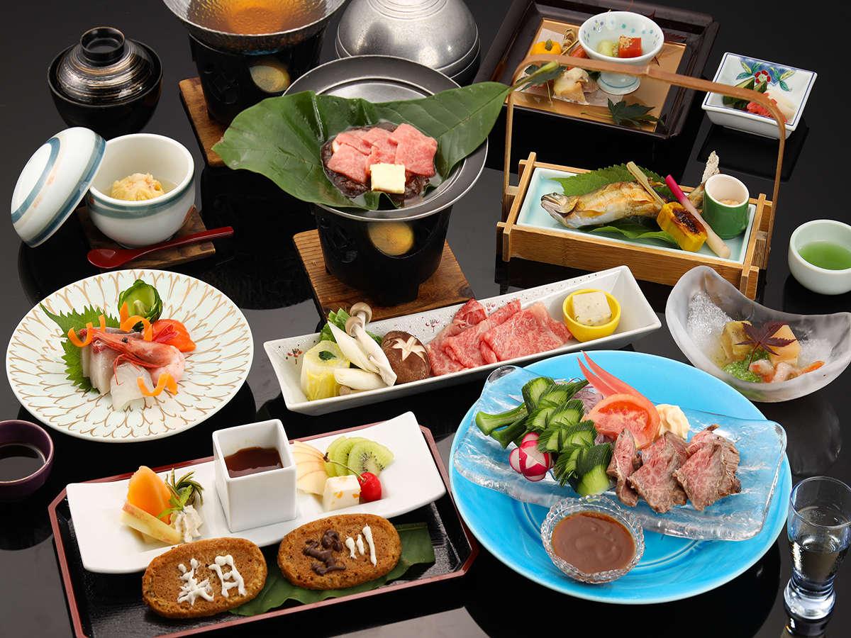 【美月御膳】最高ランクA5等級の飛騨牛をふんだんに使用した和食の会席料理。