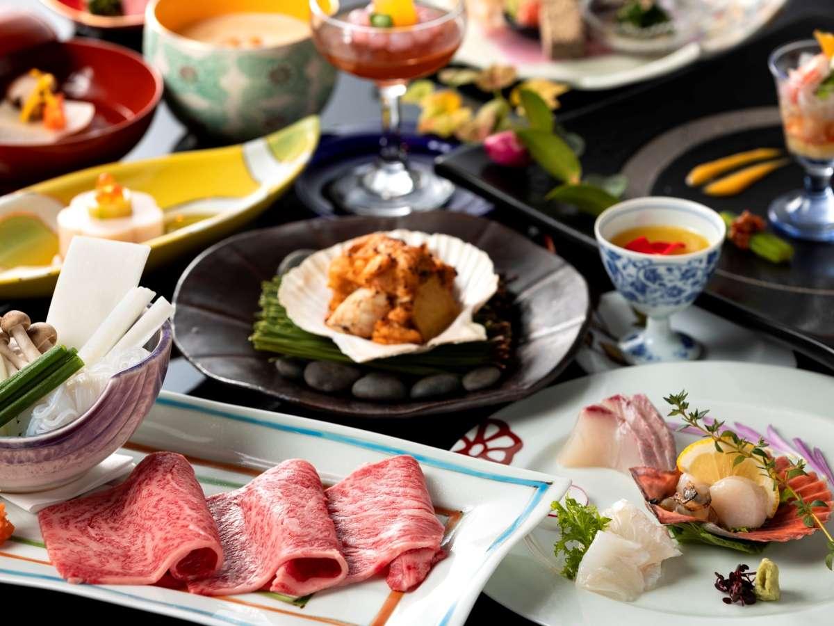 佐賀牛しゃぶしゃぶをメインに、牡蠣や松葉蟹など冬を贅沢に味わい尽くす和懐石(2/28までの料理イメージ)