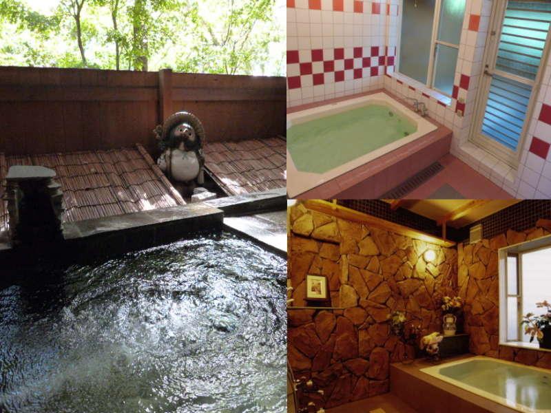 お風呂は2ケ所。A内風呂続きの露天風呂、B洋風岩風呂。湯船 内風呂146×115cm。露天138×104cm。
