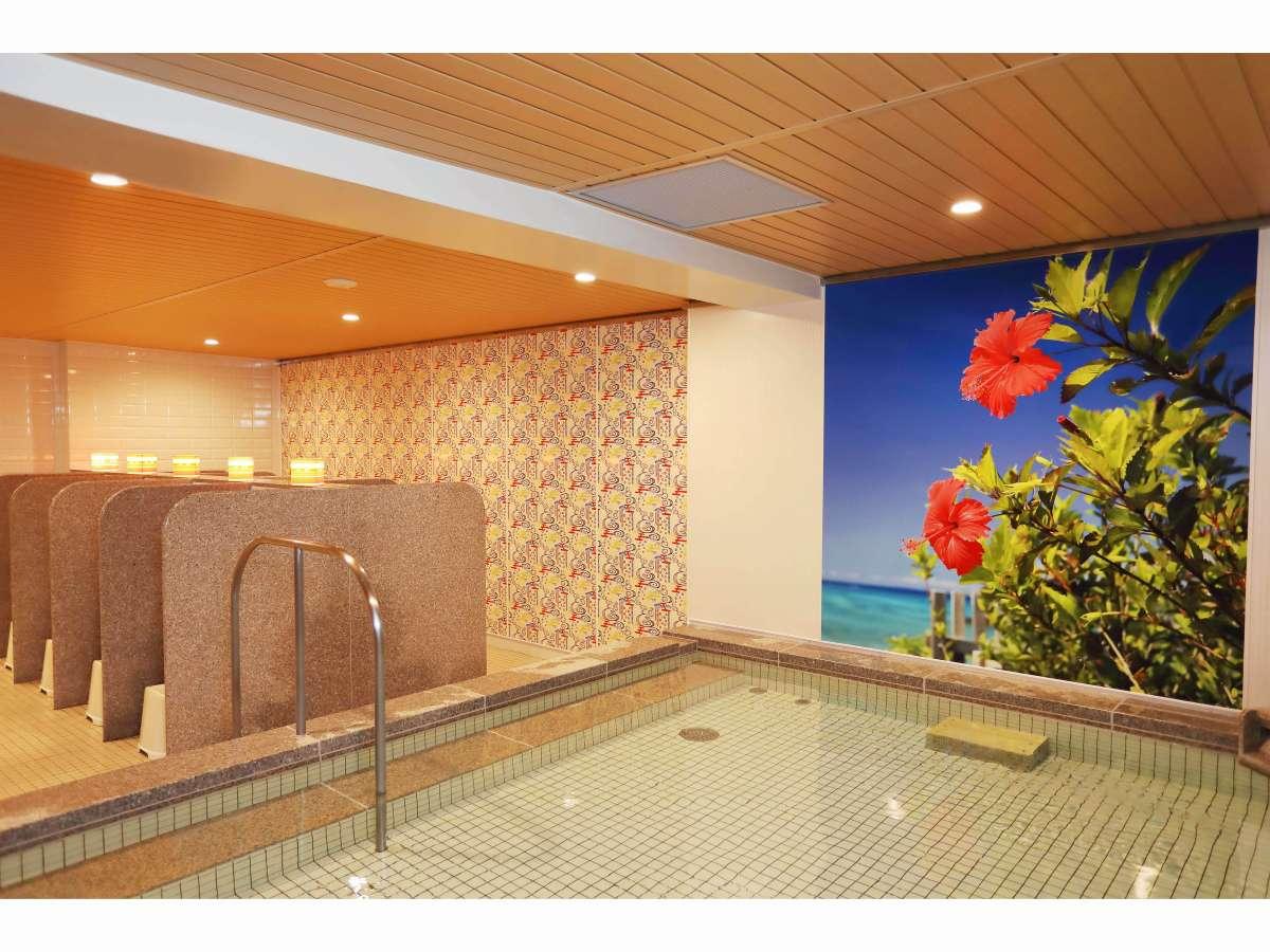 女性大浴場 最上階の浴場「なかゆくいの湯」は人工温泉『光明石』を導入しております。