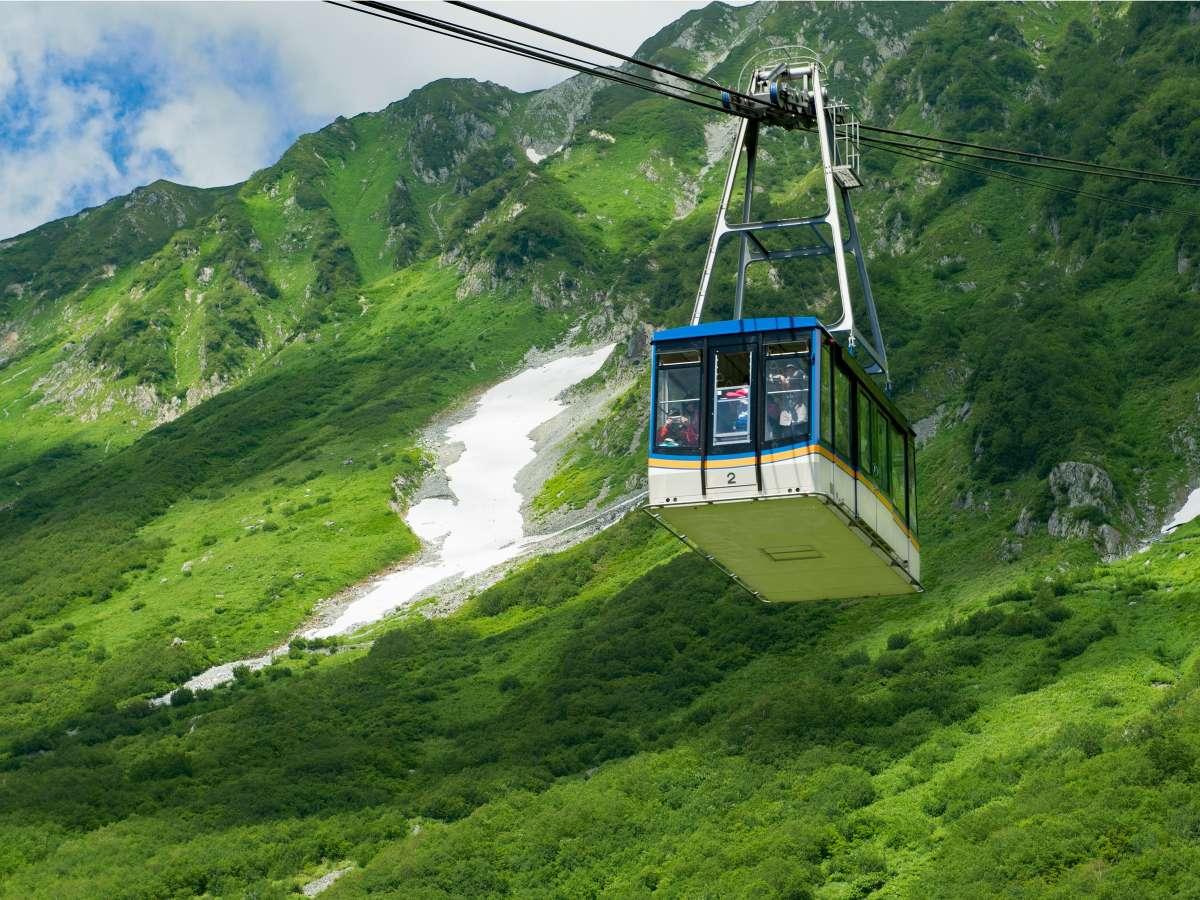 黒部平~大観峰、立山ロープウェイ。7分1.7km、支柱がなく素晴らしい景色が楽しめます