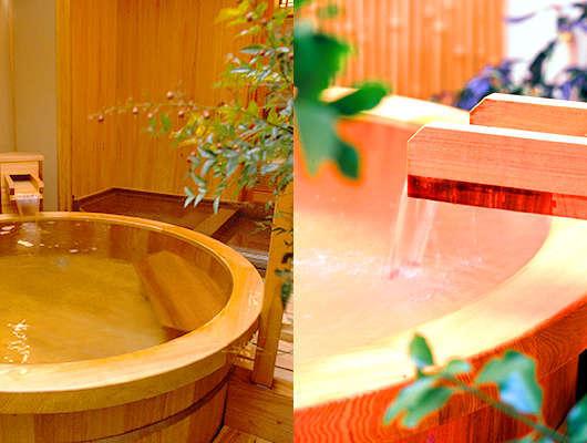 別棟にある貸切露天風呂は樽風呂岩風呂庭風呂みかげ風呂と4箇所も