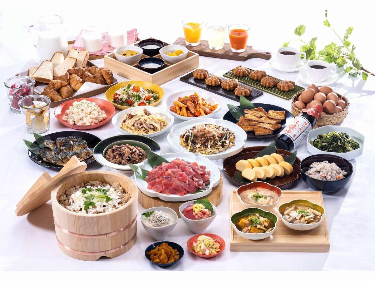 郷土色豊かなブッフェスタイルの朝食