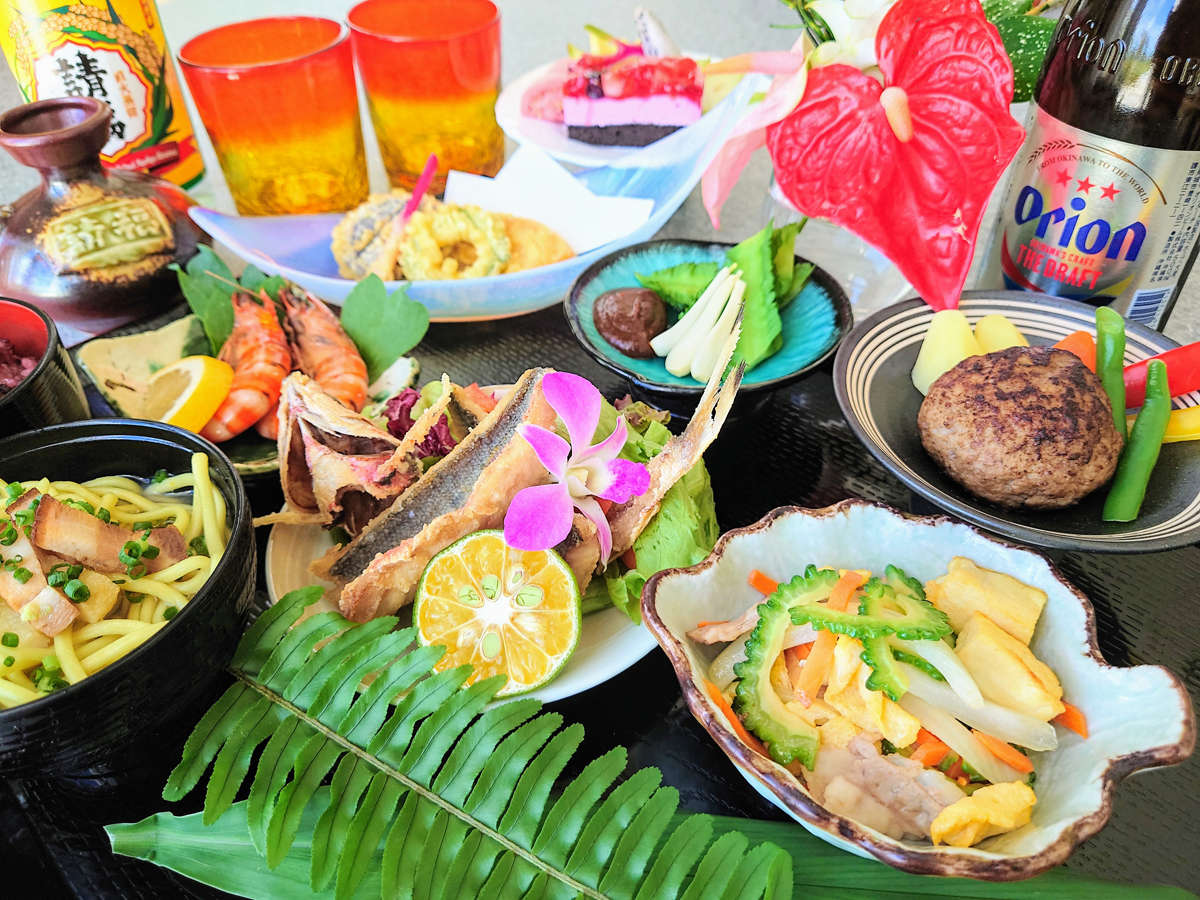 *夕食一例【西表御膳】沖縄の食材を使った色鮮やかな夕食膳/お酒は別注となります