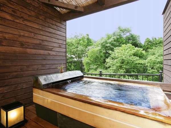 露天風呂付き客室「いちいの間」専用のお風呂でのんびりと!お湯はもちろん温泉♪