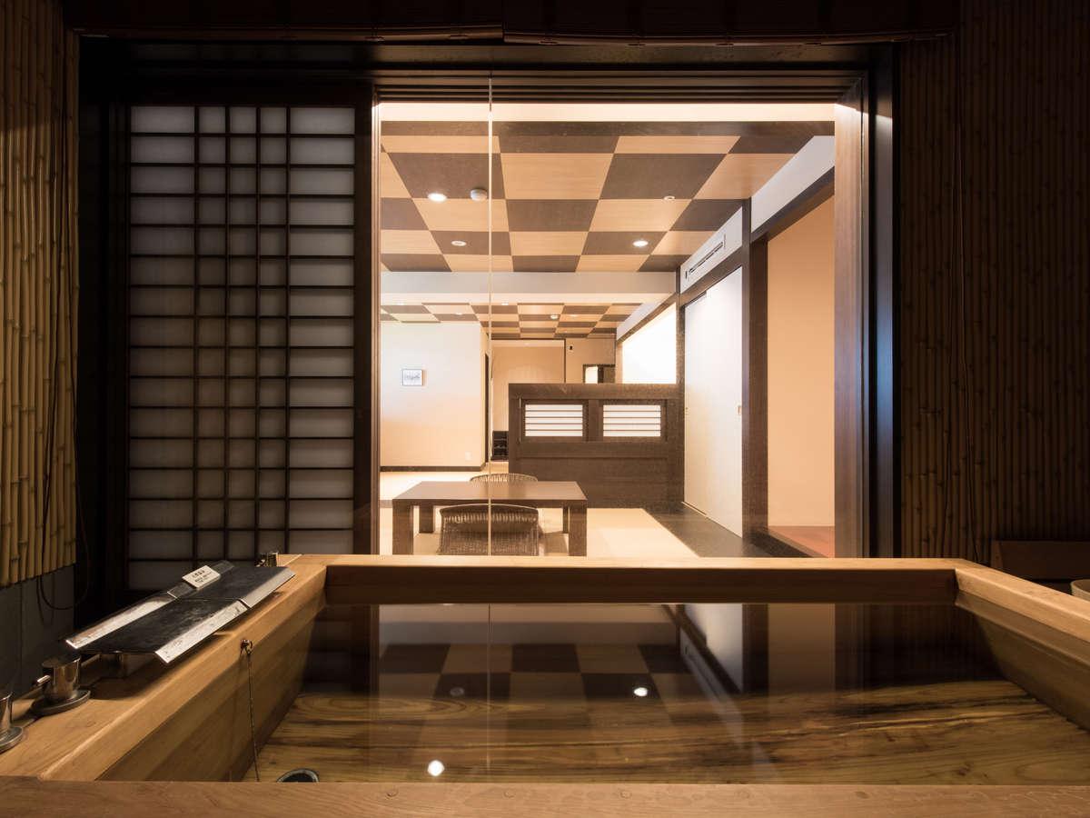 最上階「茶臼」総ヒノキ客室のお風呂ももちろん!乃木温泉自慢の源泉利用です。<温泉>