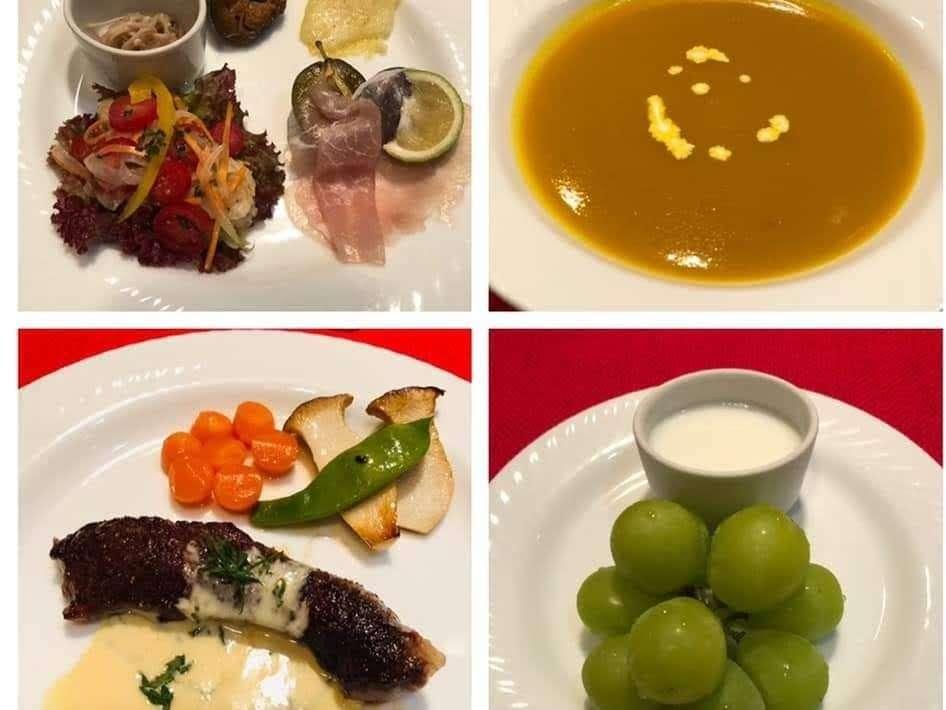 秋のカプリスディナー 信州プレミアム牛のステーキをメイン、地元産の旬の食材がテーマ