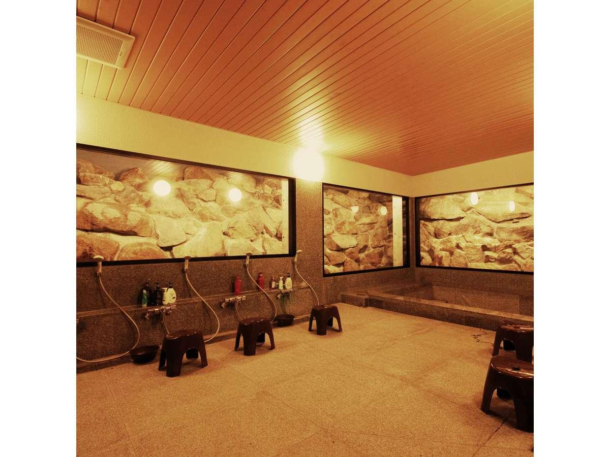 真壁の御影石を使った大浴場