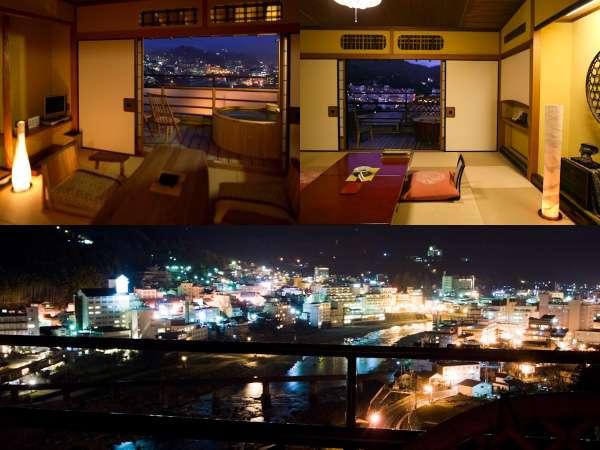 街絶景ランキング1位獲得の露天風呂付き客室。下呂温泉街の夜景を一望にできるのは当館だけ!