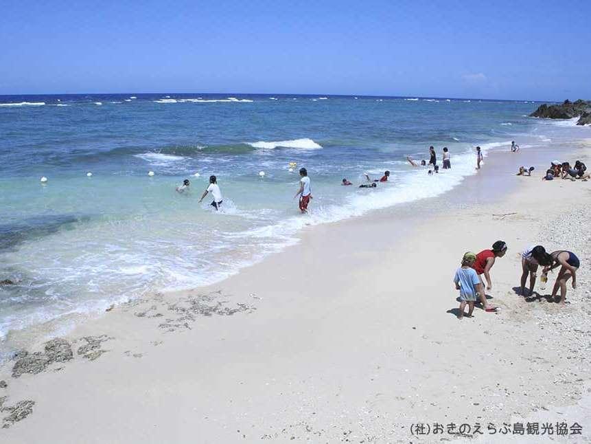 【周辺観光】「屋子母ビーチ」 水平線には与論島や沖縄本島が望めます