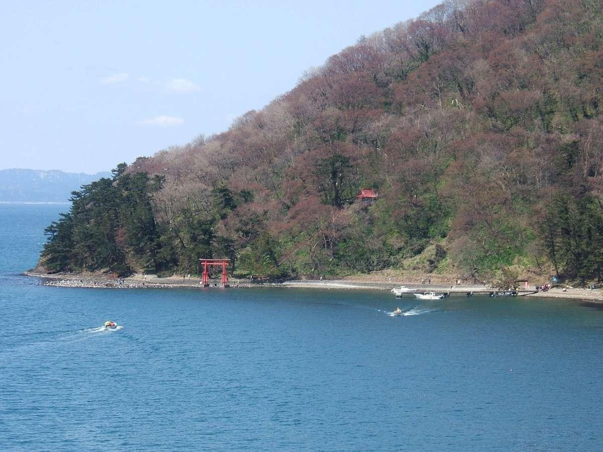 湯の島へお客様を乗せた船が行き交います。