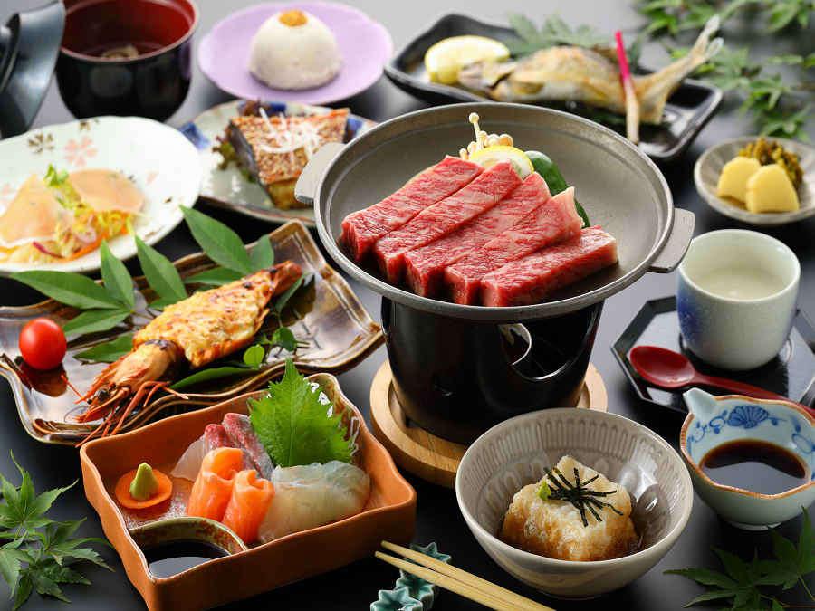 豊後牛ステーキをメインとした真心料理/夕食一例