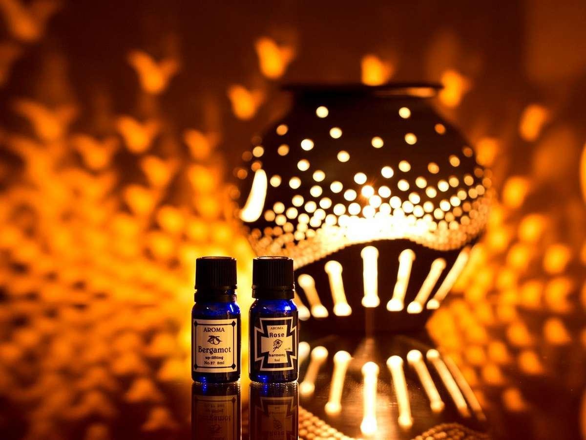 アロマポットのやわらかい香りや温かみのある明かりでリラックス効果抜群(部屋:月・星・限定)