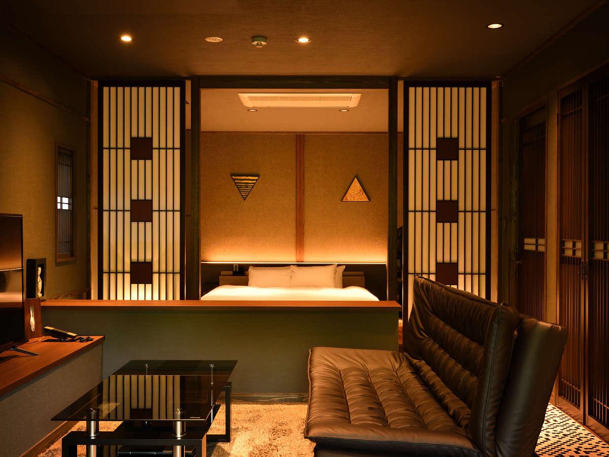 当宿最高グレードの貴賓室【月の御影・101】ペットも同伴できる専用玄関の備わった特別なお部屋です。