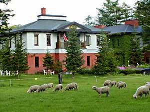 羊牧場とホテル外観
