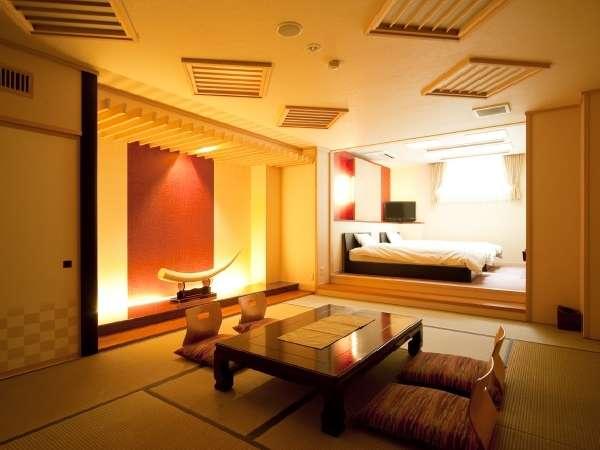 和風モダンなベッド付き和洋室