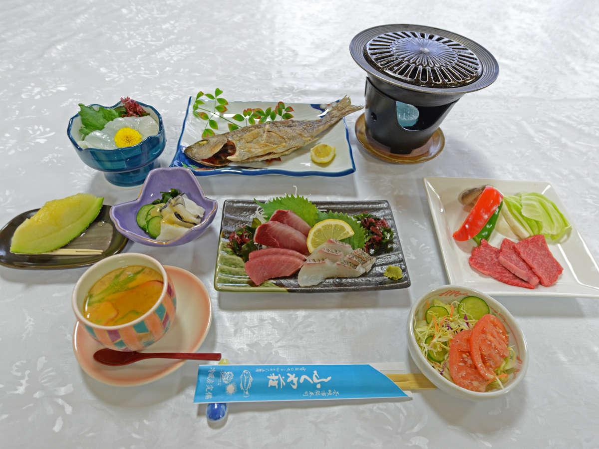 *【夕食一例】勝本港で水揚げされた天然の海の幸をたっぷり堪能!