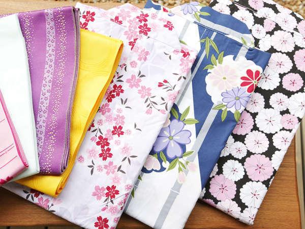 【有料サービス】館内着とは別に、色浴衣を1枚500円(税別)にてご用意。