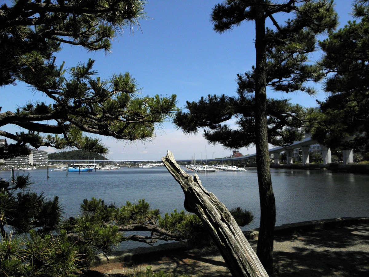 当館より徒歩2分、シーサイドライン「金沢八景駅」脇、瀬戸神社の琵琶島から見た景色です。