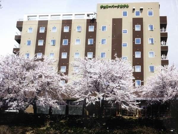 【ホテル外観】春桜咲く/最上川側から