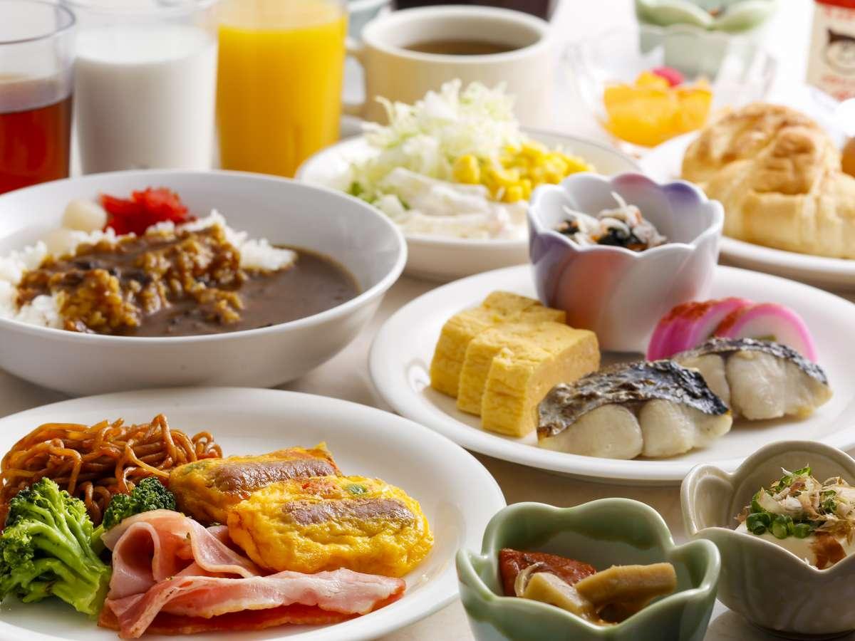 朝食は和洋のバイキング 約30種類から♪